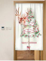 Christmas Tree Elk Print Door Curtain -