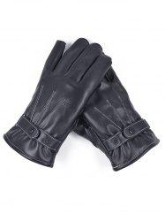 Line Embroidery PU Leather Full Finger Gloves -