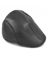 Line Embroidery Faux Leather Newsboy Hat -