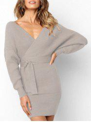 Wrap V Neck Belted Bodycon Dress -