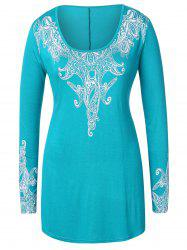 Plus Size Ethnic Print Long T-shirt -