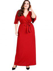 Plunging Neck Plus Size Ankle Length Dress -