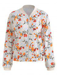 Floral Printed Zip Up Casual Jacket -