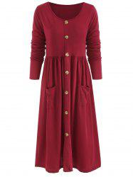 Long Sleeve Front Pocket Button Dress -