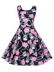 Flower and Skull Print Sleeveless Dress -