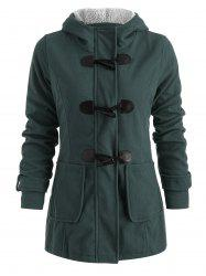 Hooded Horn Button Woollen Coat -