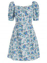 Square Neck Floral Print A Line Dress -