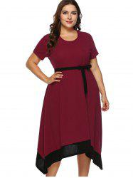 Belted Plus Size Contrast Trim Asymmetrical Dress -