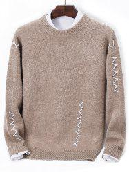 Contrast Zigzag Line Detail Knit Sweater -