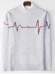 Electrocardiogram Pattern Pullover Knit Sweater -