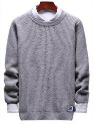 Solid Crewneck Patch Detail Pullover Knit Sweater -