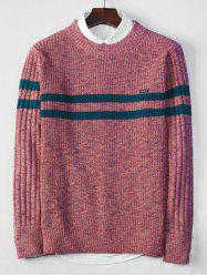 Cross Stripe Contrast Color Pullover Knit Sweater -