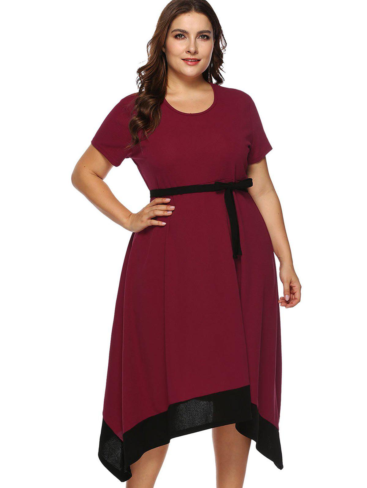 Store Belted Plus Size Contrast Trim Asymmetrical Dress