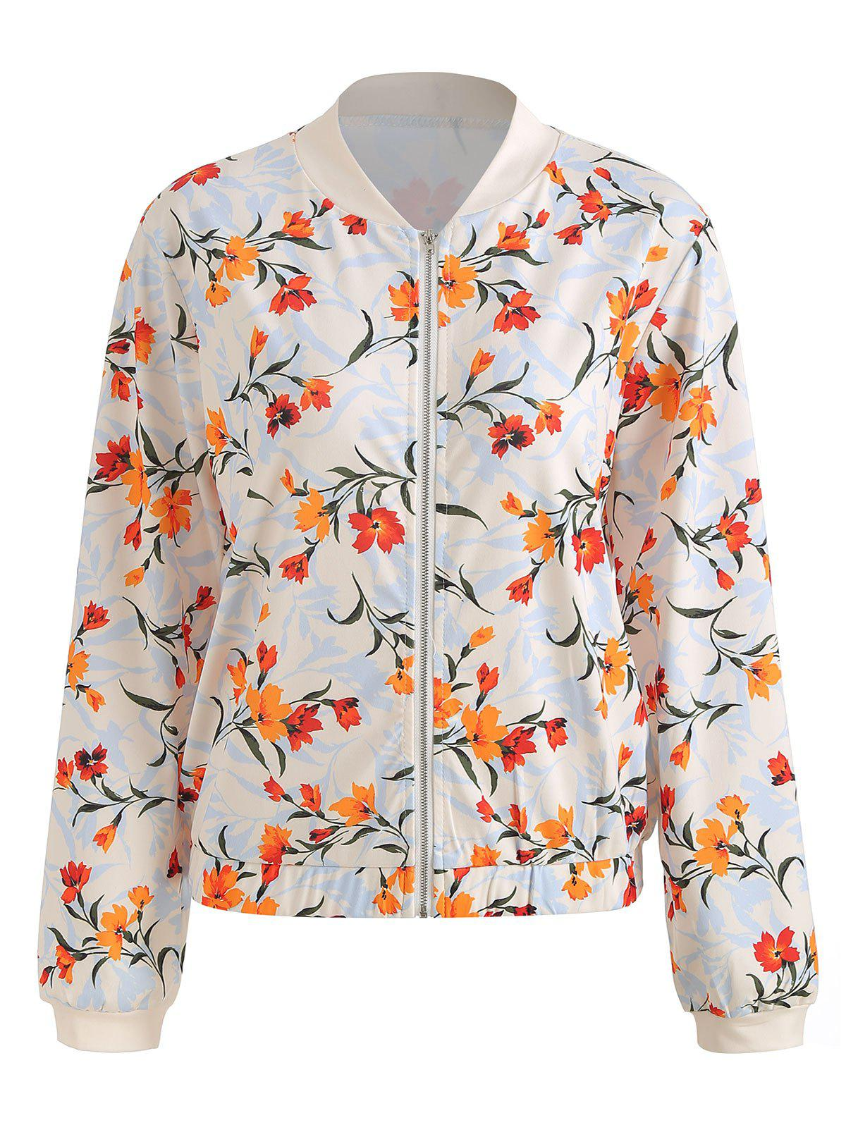 Hot Floral Printed Zip Up Casual Jacket