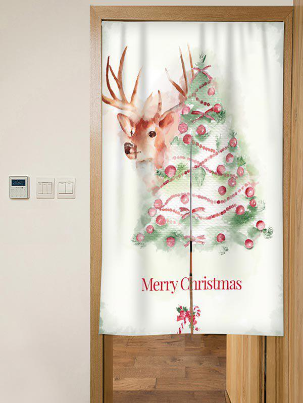 Trendy Christmas Tree Elk Print Door Curtain