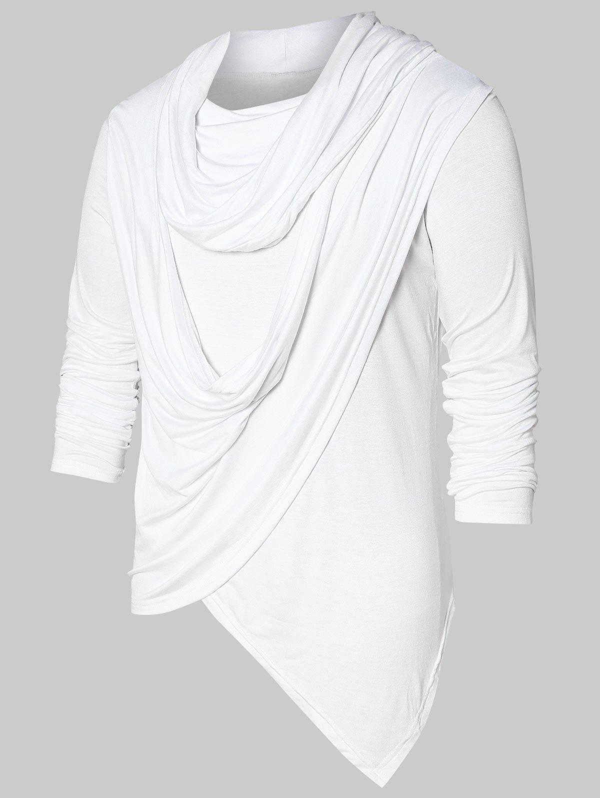 Fancy Asymmetric Pile Heap Collar Solid T-shirt