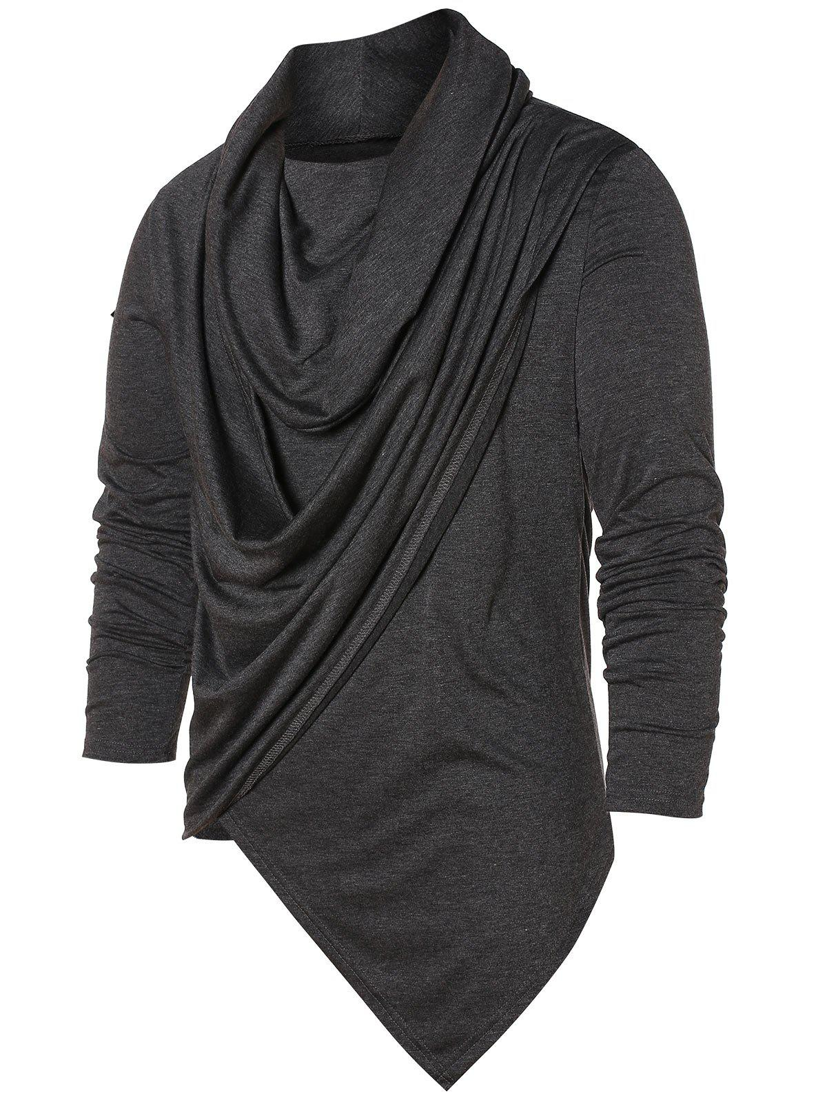 Hot Asymmetric Pile Heap Collar Solid T-shirt