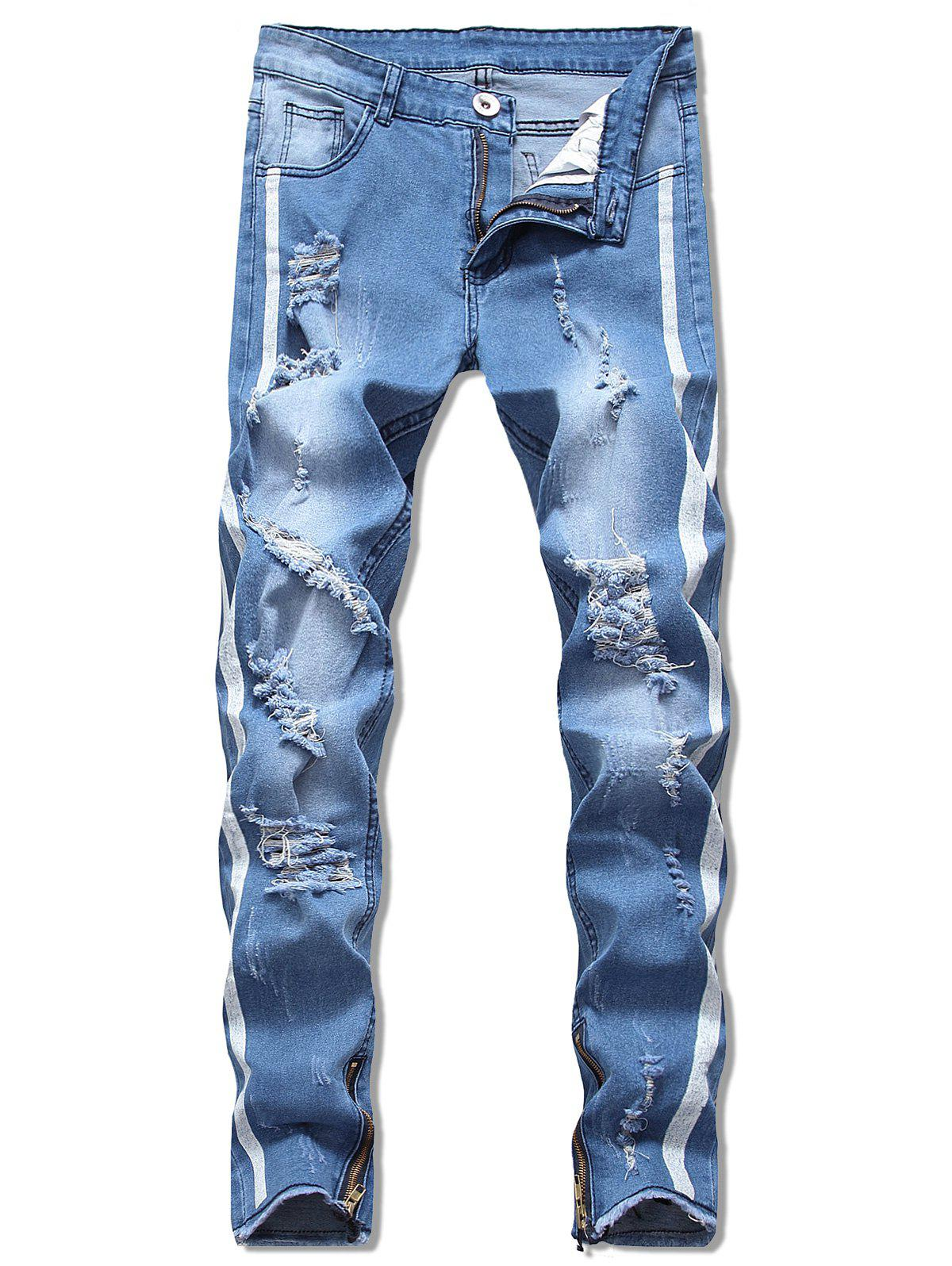 Chic Leg Zipper Embellished Destroyed Jeans