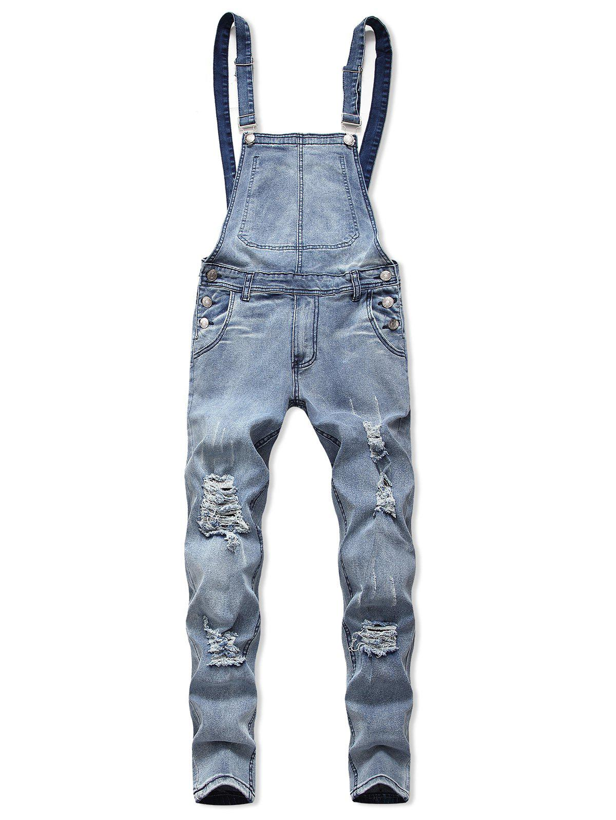 Outfits Distressed Zip Fly Denim Jumpsuit
