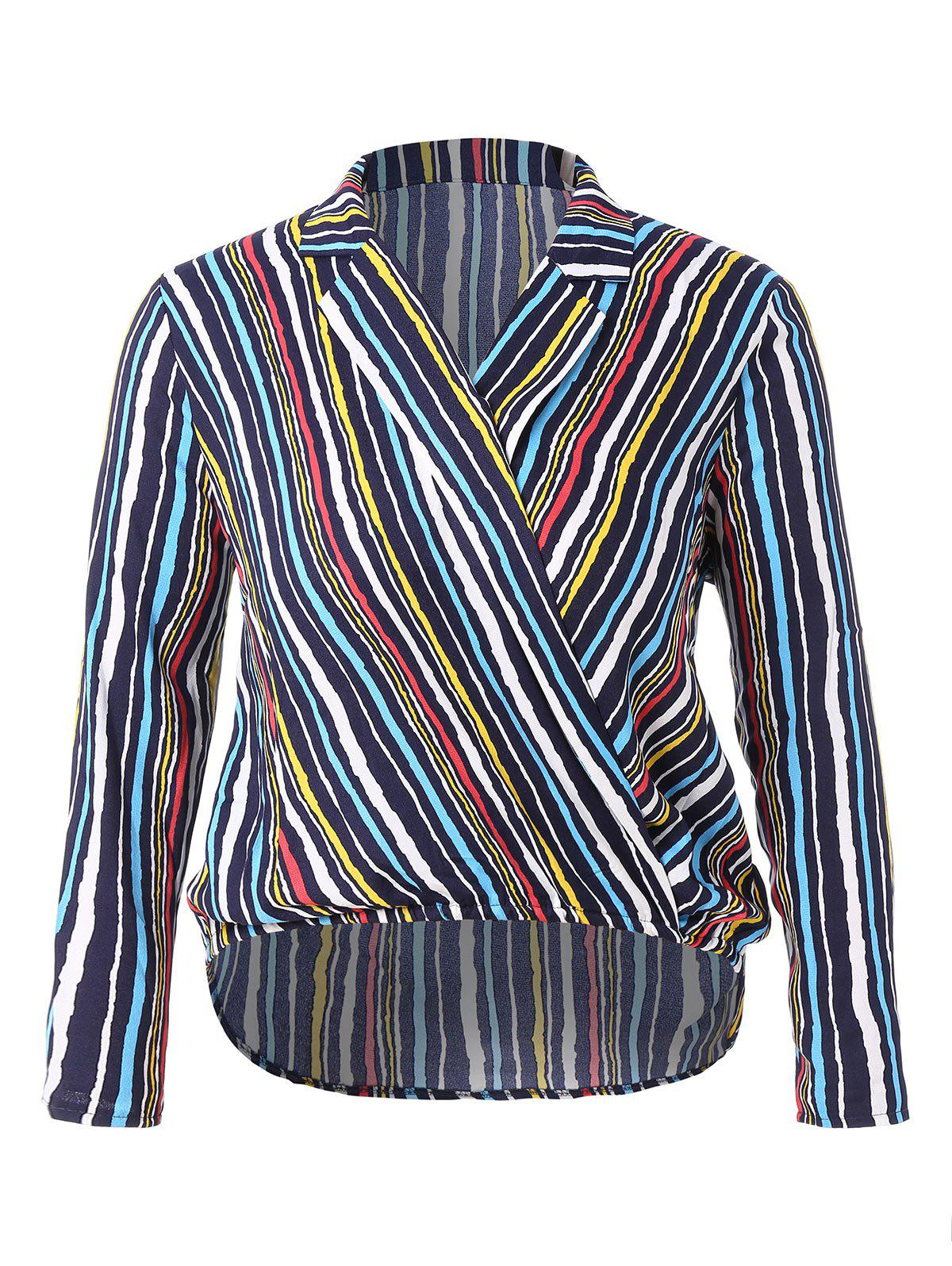 Shops Plus Size Lapel Neck Striped Blouse