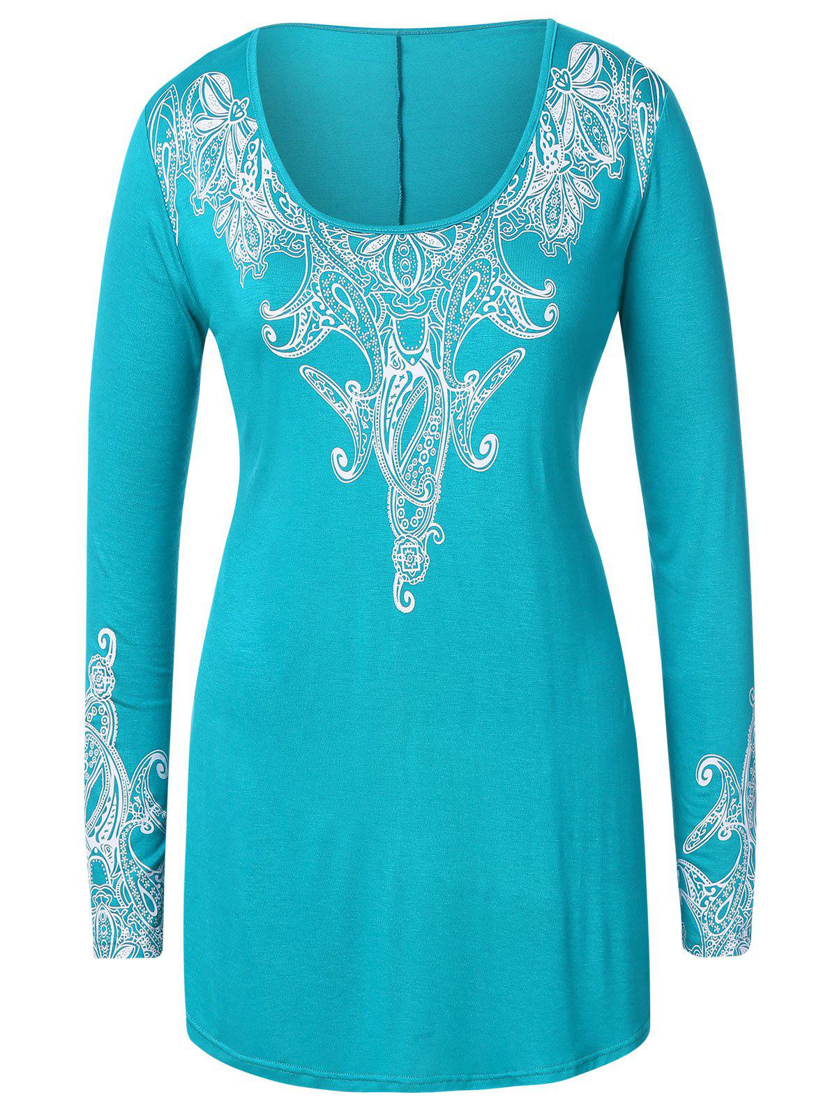 Outfits Plus Size Ethnic Print Long T-shirt