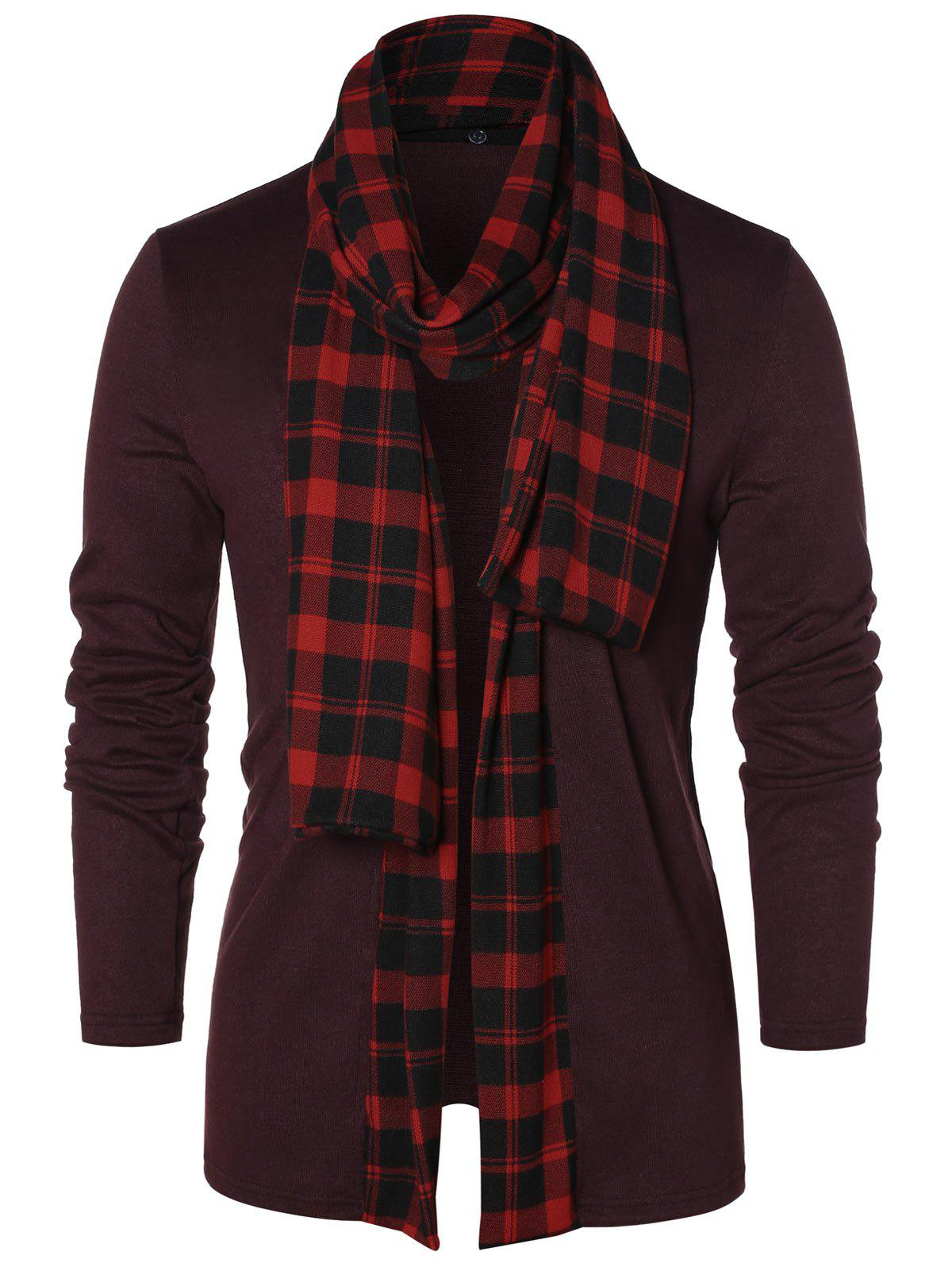 Hot Checked Print Open Front Longline Cardigan
