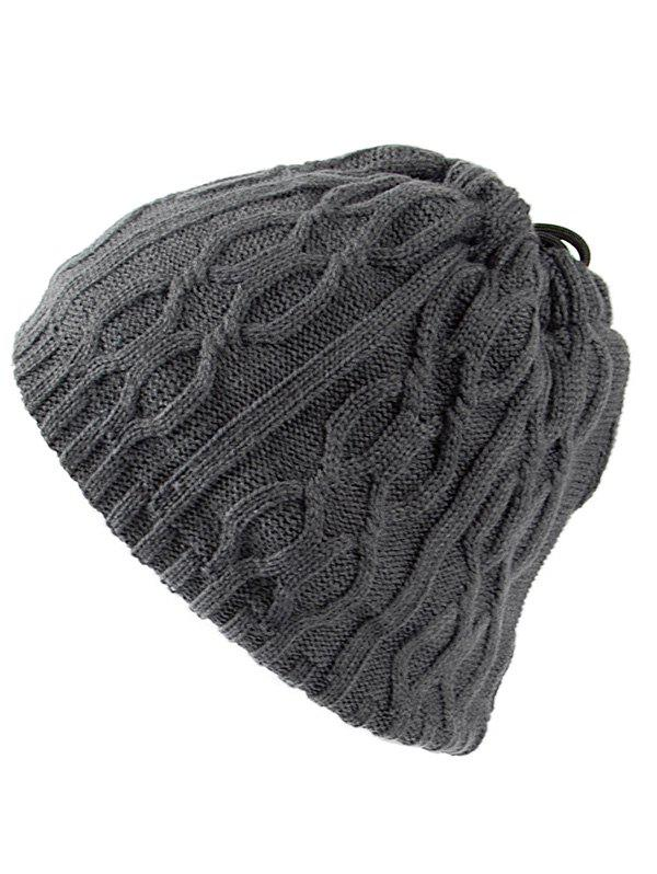 Outfit Multi-Use Drawstring Knit Hat Scarf