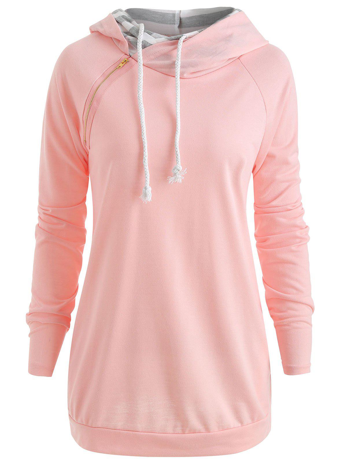 Sweat à Double Capuche à Manches Raglan Rose L