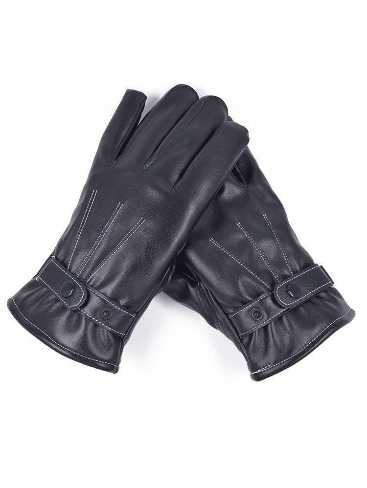 Sale Line Embroidery PU Leather Full Finger Gloves