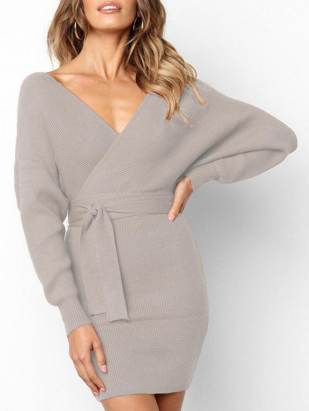 Store Wrap V Neck Belted Bodycon Dress
