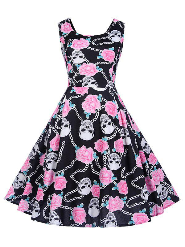 Latest Flower and Skull Print Sleeveless Dress