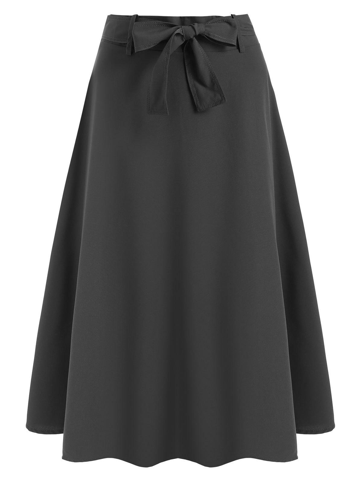 Affordable Bow Belted Midi Skirt