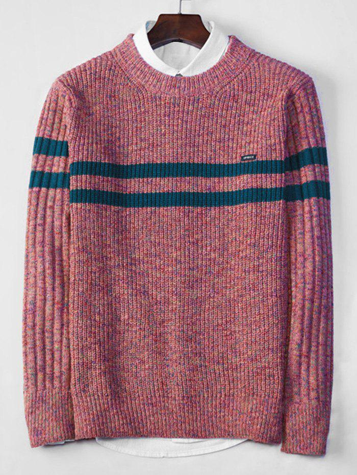 Unique Cross Stripe Contrast Color Pullover Knit Sweater