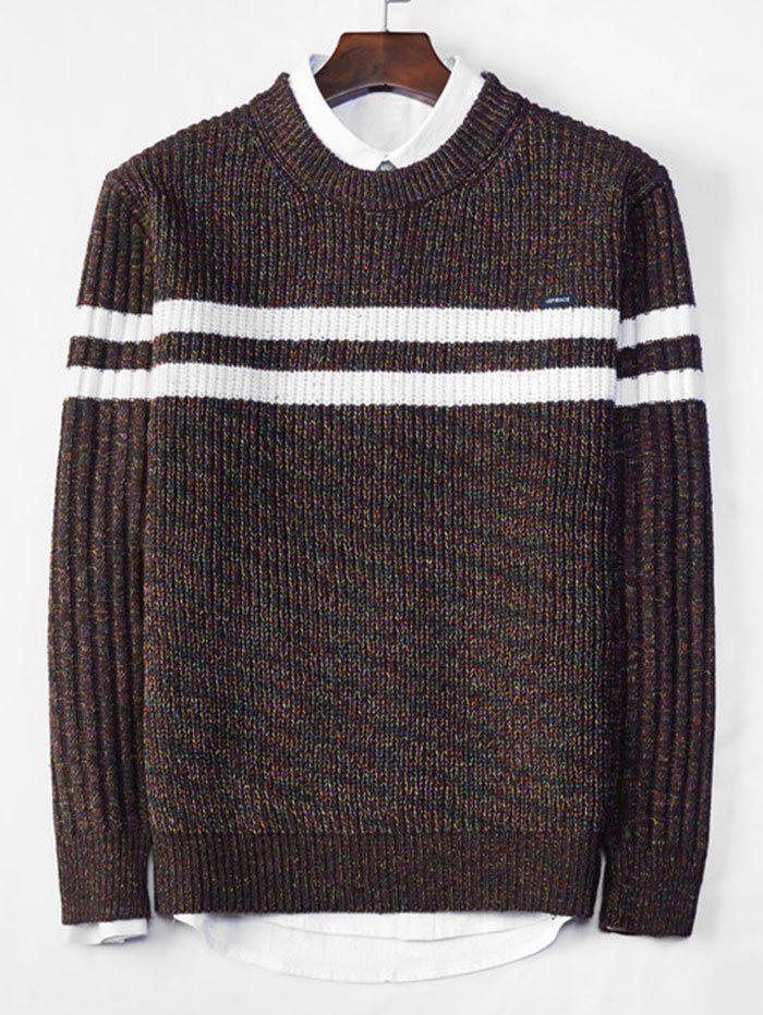 Discount Cross Stripe Contrast Color Pullover Knit Sweater