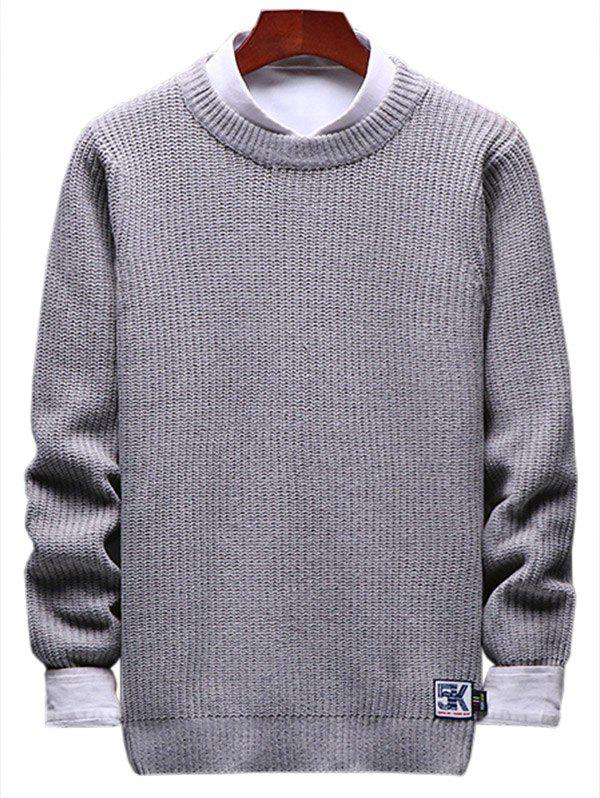 Latest Solid Crewneck Patch Detail Pullover Knit Sweater