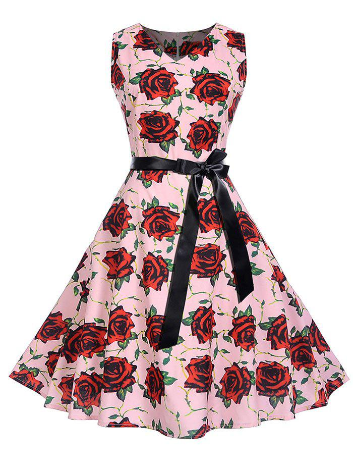 Fancy Vintage Rose Print A Line Dress