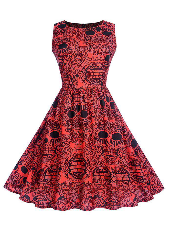 Printed Sleeveless Fit and Flare Dress