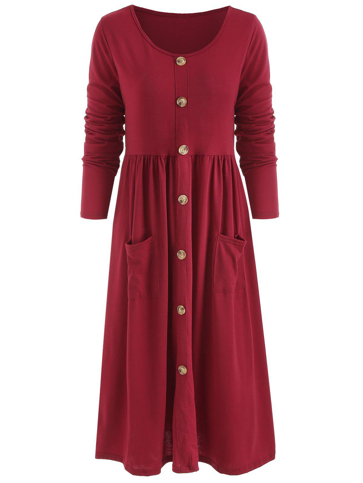 Sale Long Sleeve Front Pocket Button Dress