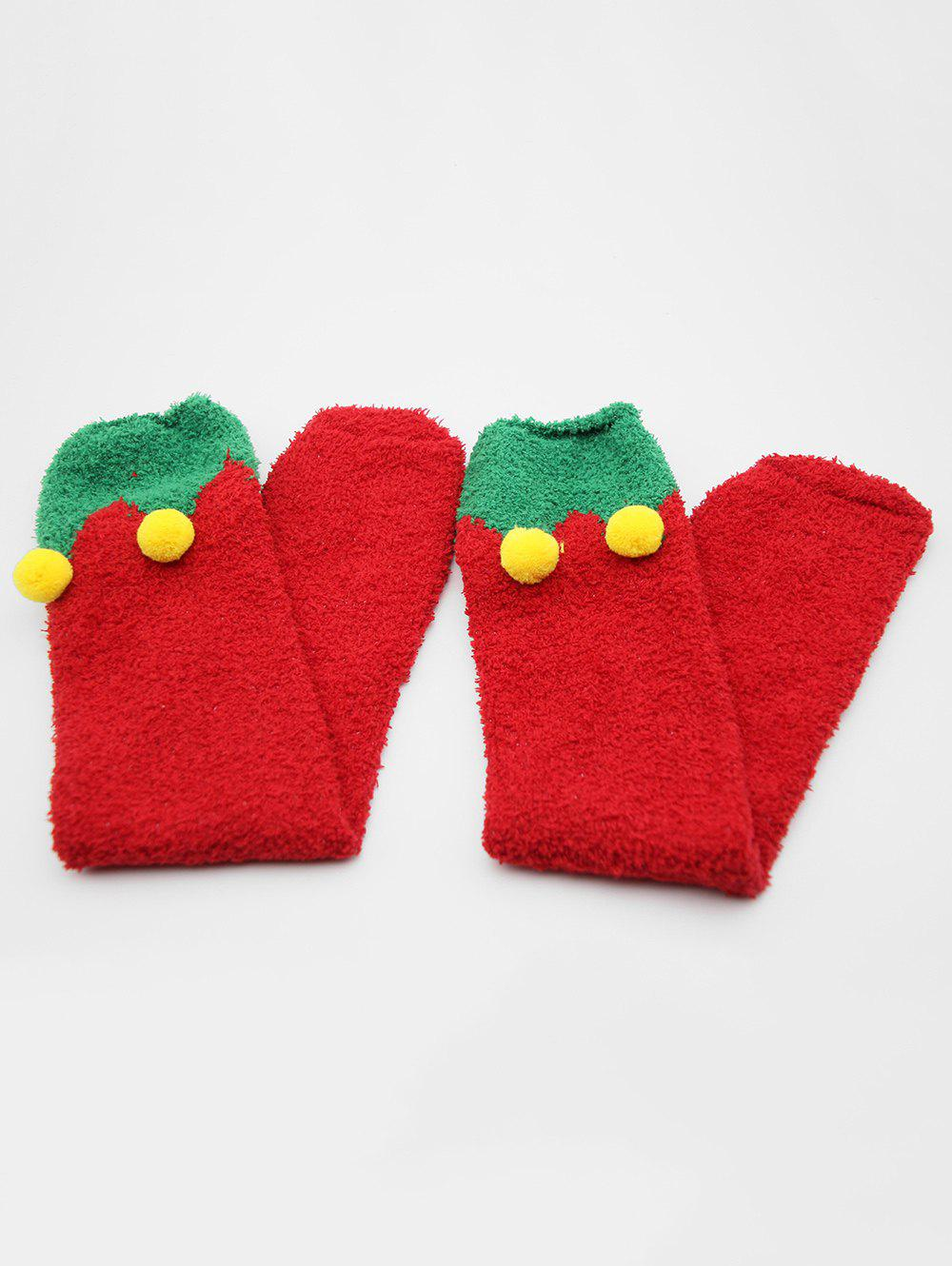Affordable Christmas Fuzzy Ball Embellished Floor Socks