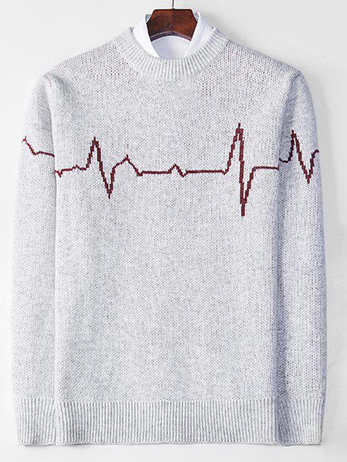 Unique Electrocardiogram Pattern Pullover Knit Sweater