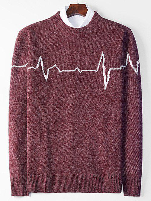Cheap Electrocardiogram Pattern Pullover Knit Sweater