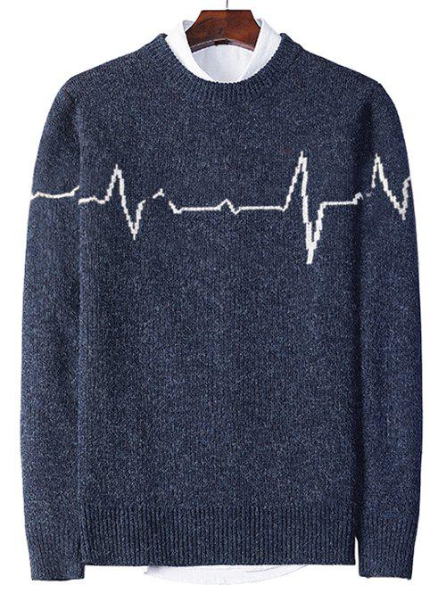Best Electrocardiogram Pattern Pullover Knit Sweater