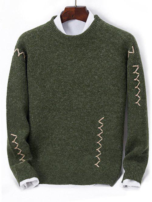 Online Contrast Zigzag Line Detail Knit Sweater