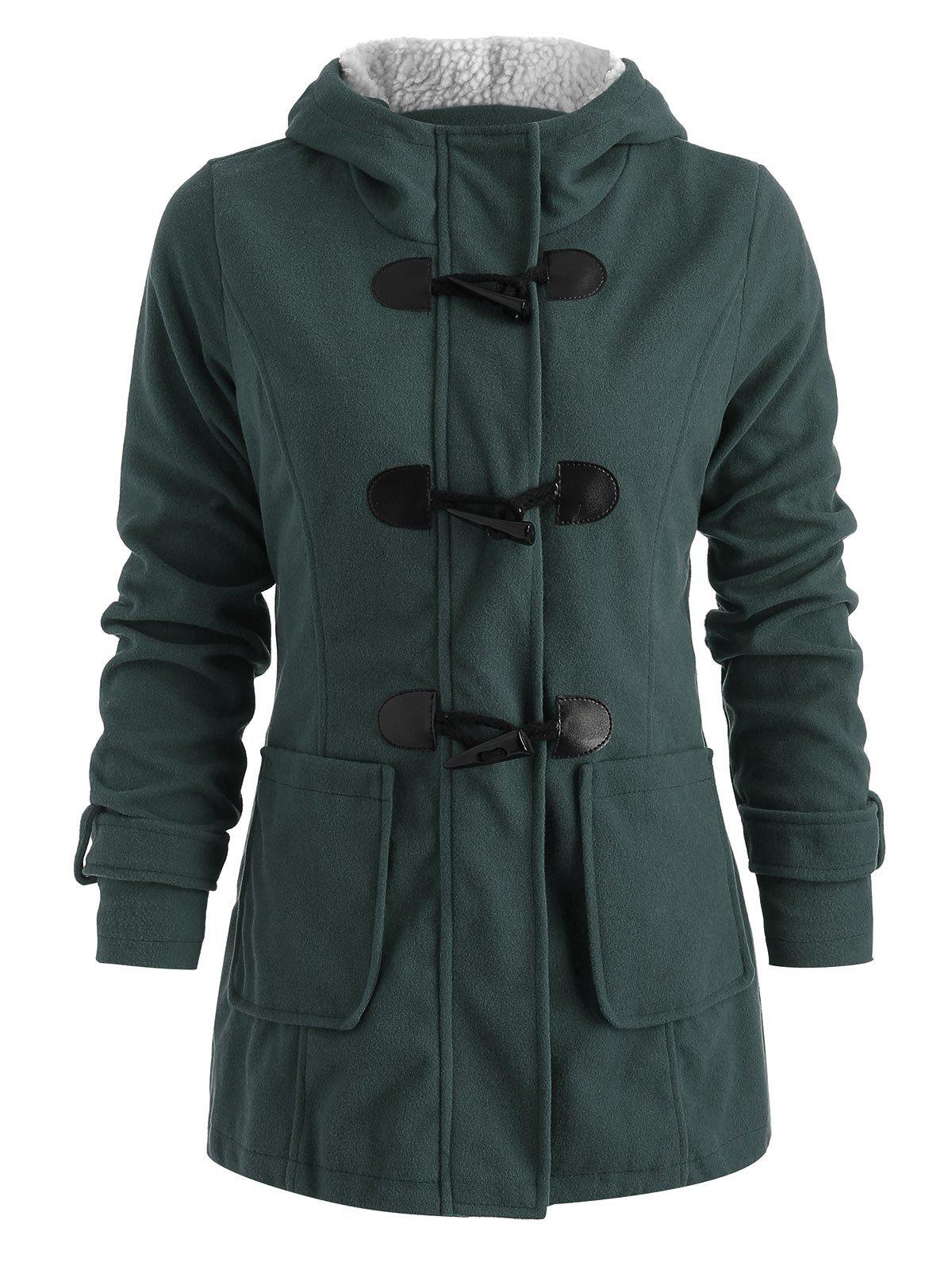 Cheap Hooded Horn Button Woollen Coat