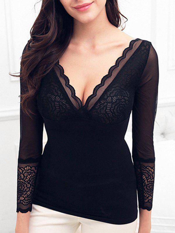 Buy Body Shaping Lace Insert Thermal Underwear Top
