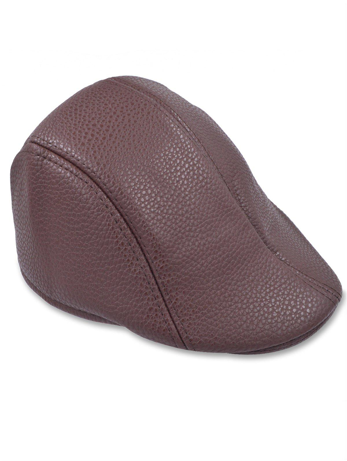 Online Line Embroidery Faux Leather Newsboy Hat