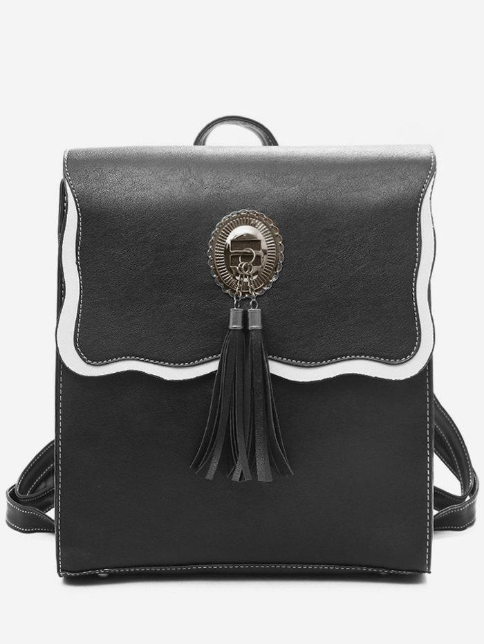 Discount Tassel PU Leather Color Block Backpack