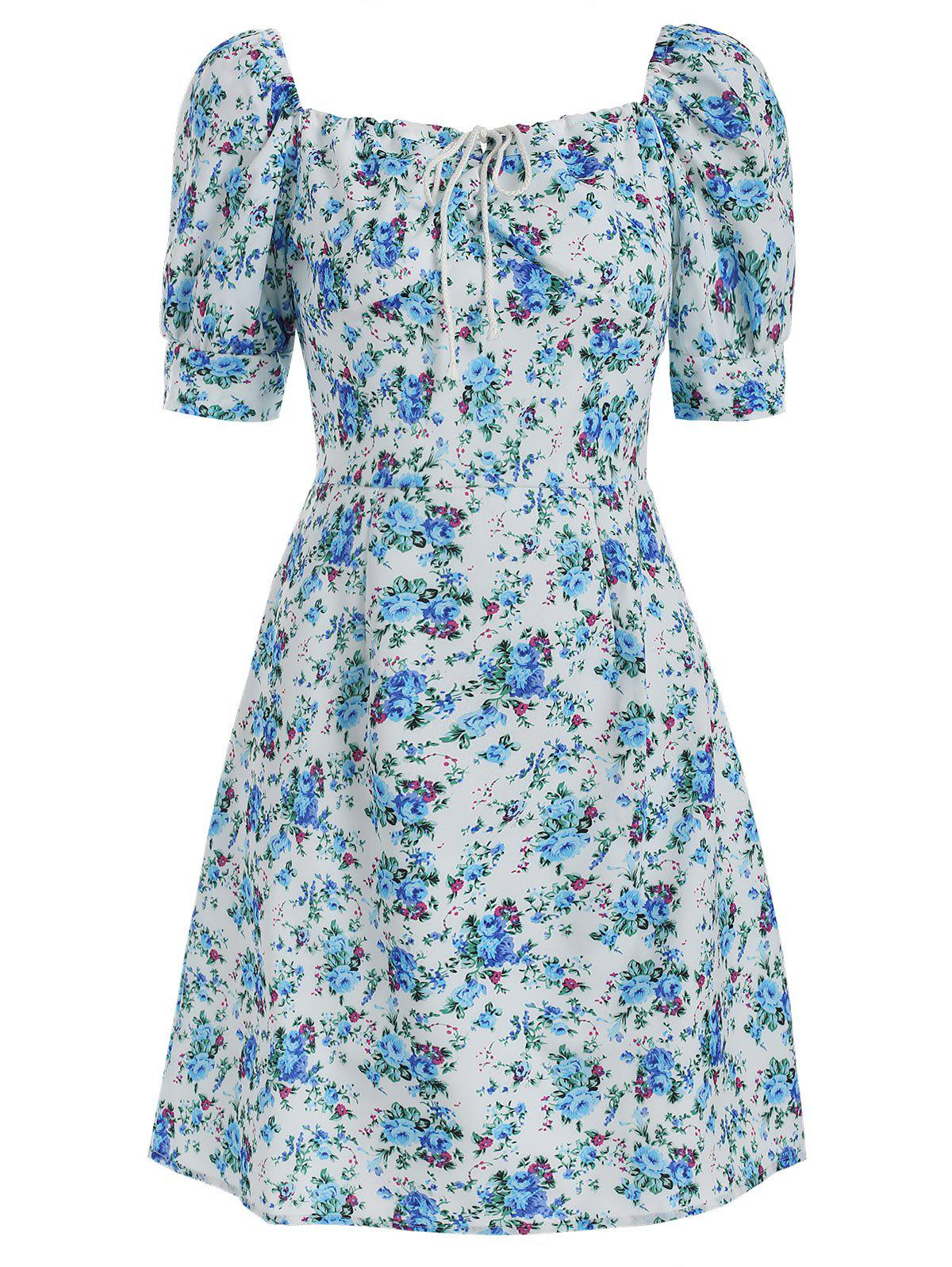 New Square Neck Floral Print A Line Dress