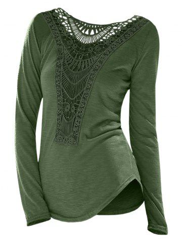 Casual Scoop Neck Hollow Out Crochet Spliced Solid Color T-Shirt For Women - ARMY GREEN - M