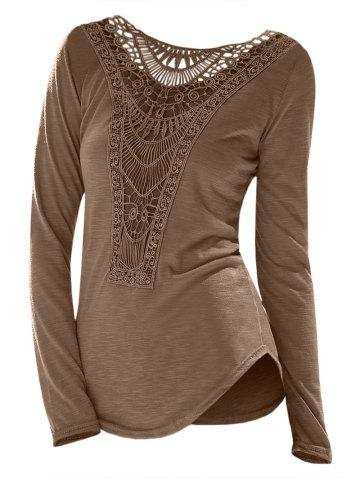 Casual Scoop Neck Hollow Out Crochet Spliced Solid Color T-Shirt For Women - COFFEE - S